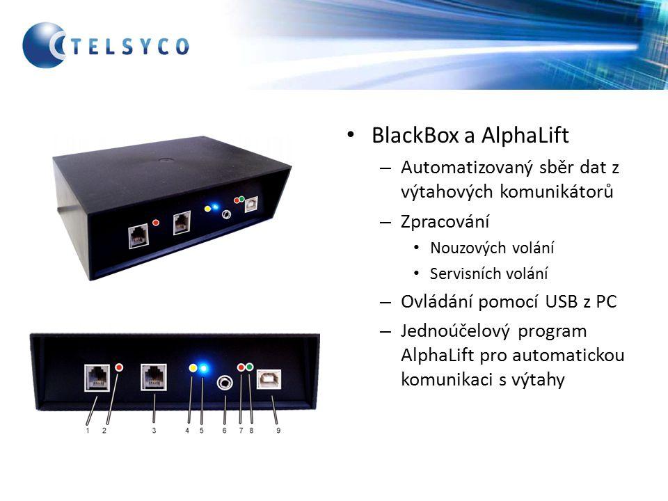 BlackBox a AlphaLift – Automatizovaný sběr dat z výtahových komunikátorů – Zpracování Nouzových volání Servisních volání – Ovládání pomocí USB z PC – Jednoúčelový program AlphaLift pro automatickou komunikaci s výtahy