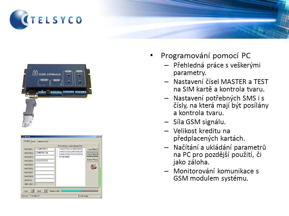Programování pomocí PC – Přehledná práce s veškerými parametry.