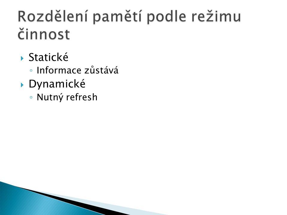  Statické ◦ Informace zůstává  Dynamické ◦ Nutný refresh