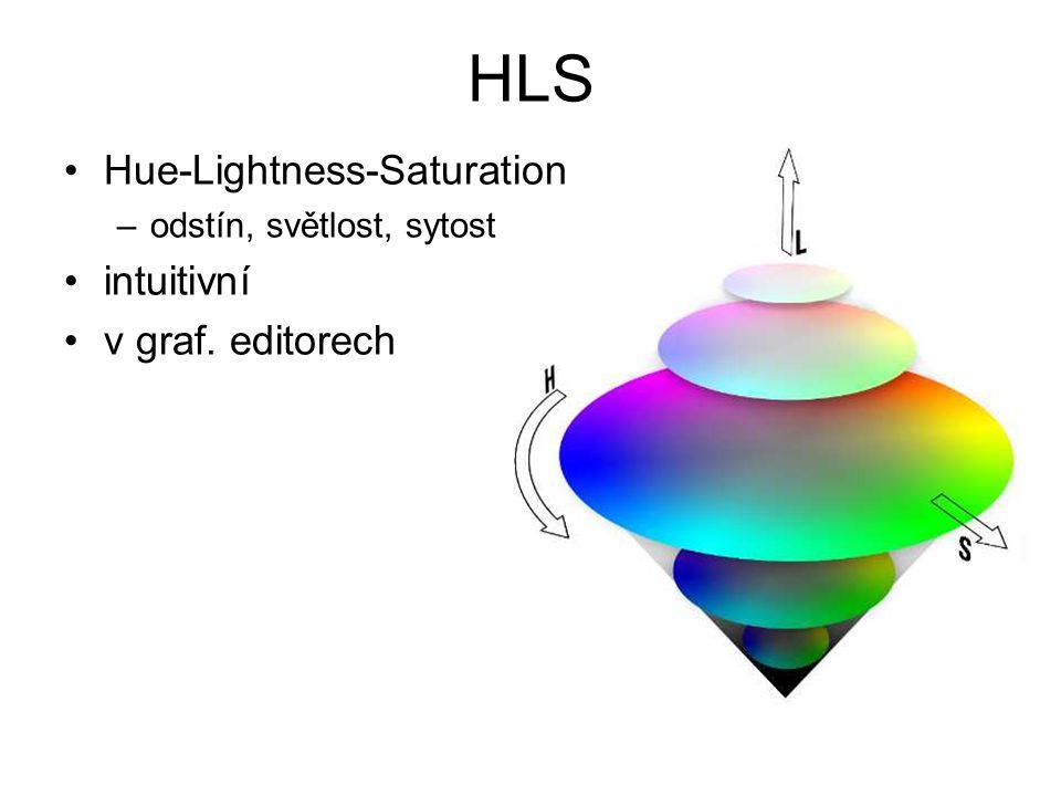 HLS Hue-Lightness-Saturation –odstín, světlost, sytost intuitivní v graf. editorech