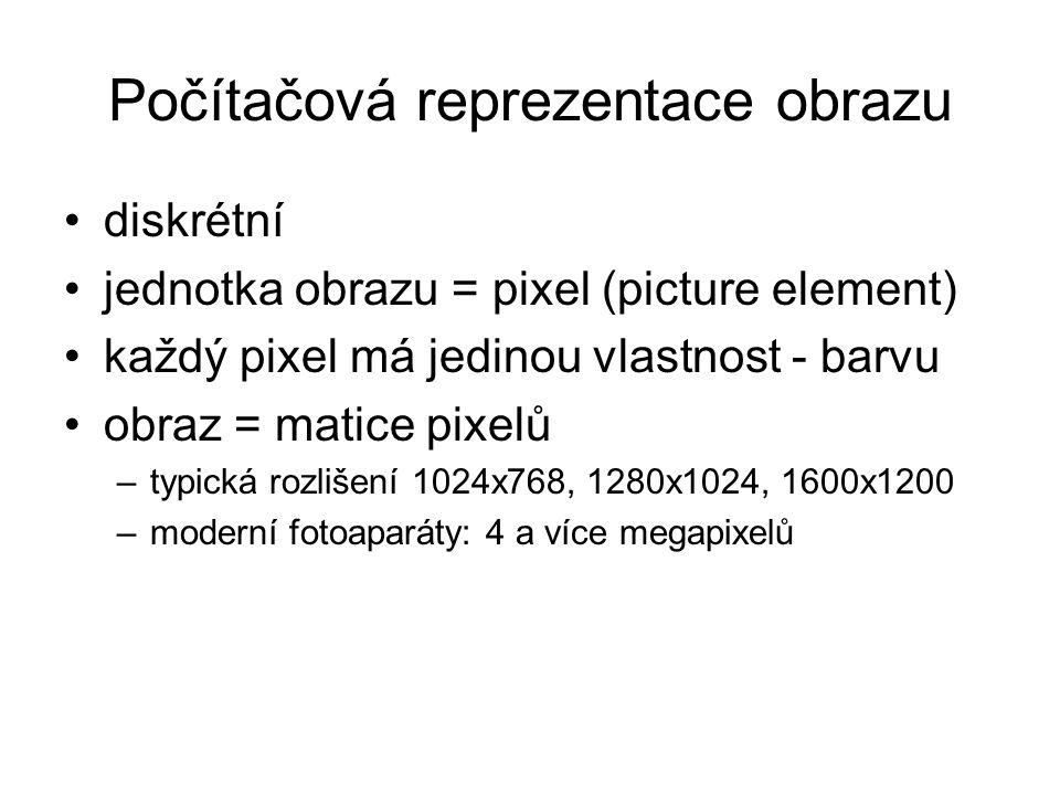 Počítačová reprezentace obrazu diskrétní jednotka obrazu = pixel (picture element) každý pixel má jedinou vlastnost - barvu obraz = matice pixelů –typická rozlišení 1024x768, 1280x1024, 1600x1200 –moderní fotoaparáty: 4 a více megapixelů