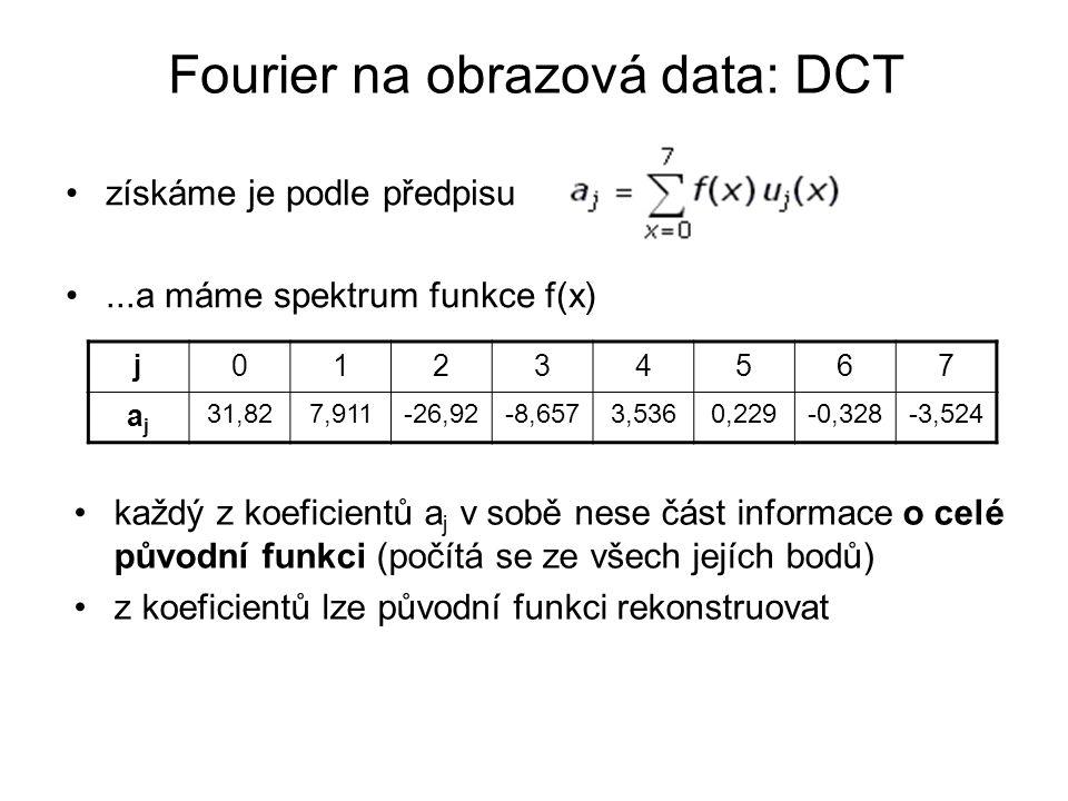 Fourier na obrazová data: DCT získáme je podle předpisu...a máme spektrum funkce f(x) j01234567 ajaj 31,827,911-26,92-8,6573,5360,229-0,328-3,524 každý z koeficientů a j v sobě nese část informace o celé původní funkci (počítá se ze všech jejích bodů) z koeficientů lze původní funkci rekonstruovat