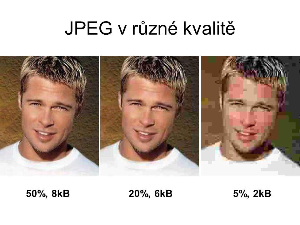 JPEG v různé kvalitě 50%, 8kB20%, 6kB5%, 2kB