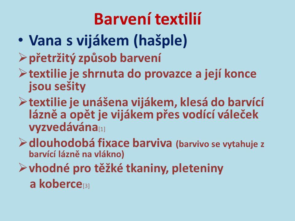 Barvení textilií Vana s vijákem (hašple) Obr.3: Barvení na hašpli na začátku 20.