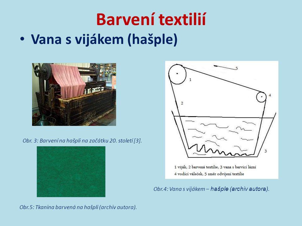 Barvení textilií Fulár  součást nepřetržité barvící linky (fulár, sušička, pařák, pračka, sušička)  impregnace barviva na textilii  textilie prochází mezi dvěma válci, kde dochází k odstranění přebytečného barviva  krátkodobá fixace barviva horkým vzduchem, chemicky  textilie je ve styku s barvou krátkou dobu na rozdíl od džigru nebo hašple [4]  barví se příze, tkaniny, pleteniny v plné šíři