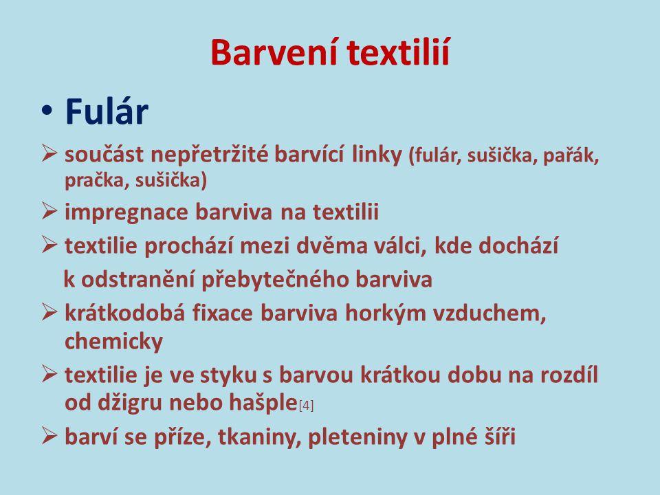 Barvení textilií Fulár Obr.5: Manšestr barvený na fuláru (archiv autora).
