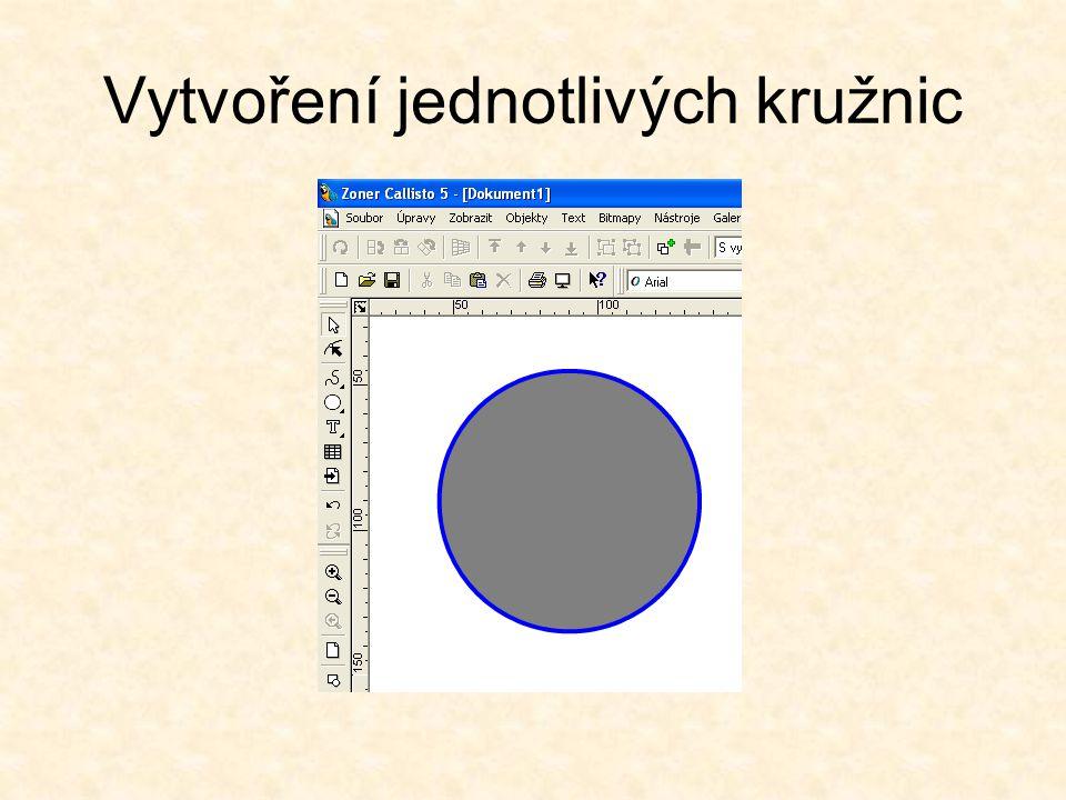 Vytvoření druhé kružnice Vytvoříme druhou kružnici, střed bude mít ve stejné pozici (90/90)jako předchozí kružnice.