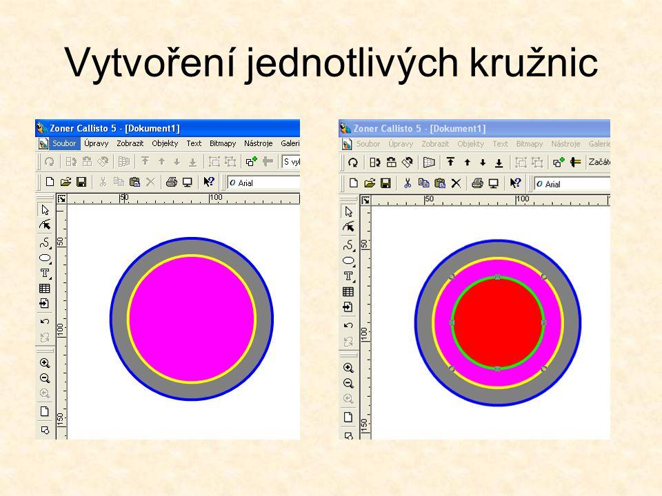 Vytvoření čtvrté kružnice Vytvoříme čtvrtou kružnici, střed bude mít ve stejné pozici (90/90)jako předchozí.