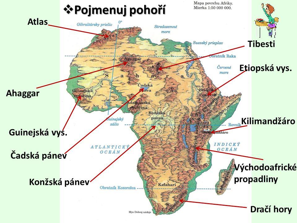 Atlas Ahaggar Guinejská vys. Dračí hory Kilimandžáro Etiopská vys. Tibesti Východoafrické propadliny Čadská pánev Konžská pánev  Pojmenujpohoří  Poj