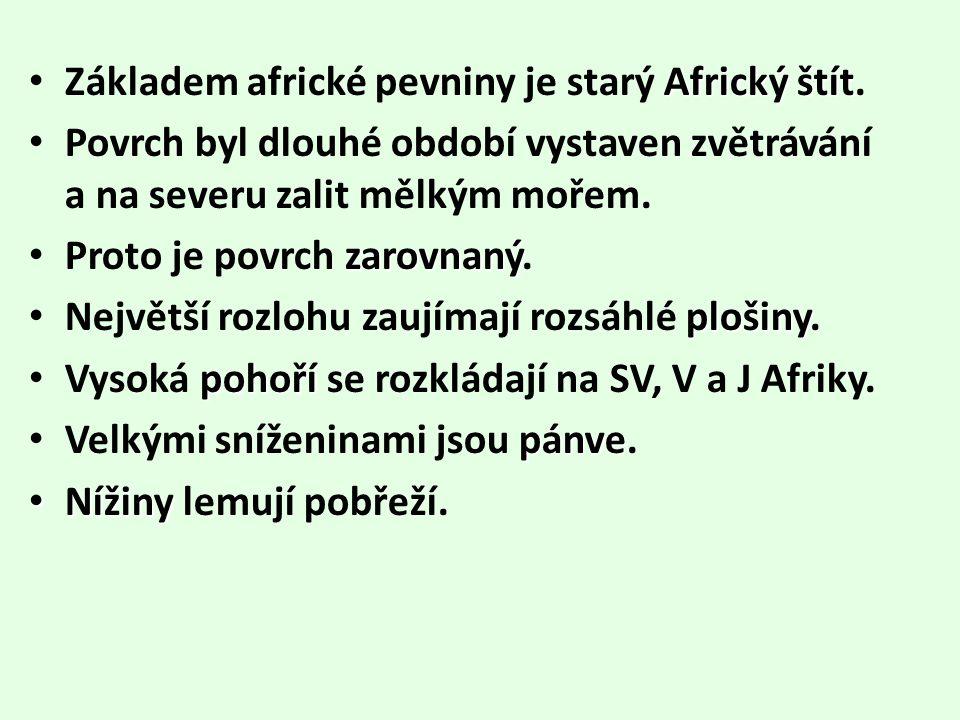 Africkýštít Základem africké pevniny je starý Africký štít. Povrch byl dlouhé období vystaven zvětrávání a na severu zalit mělkým mořem. zarovnaný Pro