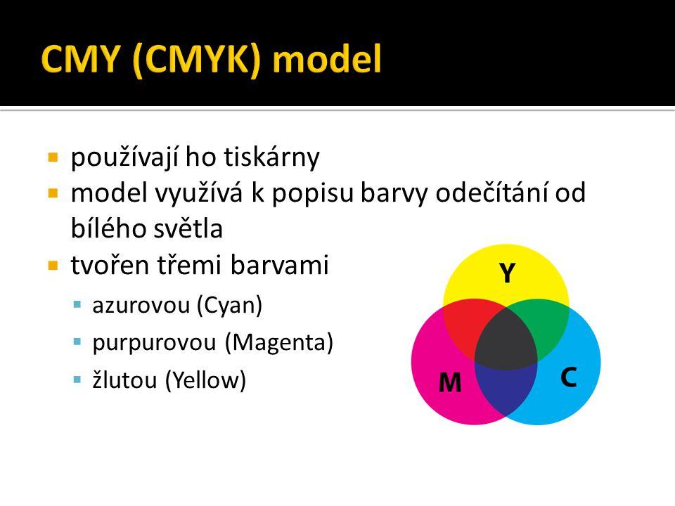  používají ho tiskárny  model využívá k popisu barvy odečítání od bílého světla  tvořen třemi barvami  azurovou (Cyan)  purpurovou (Magenta)  žl