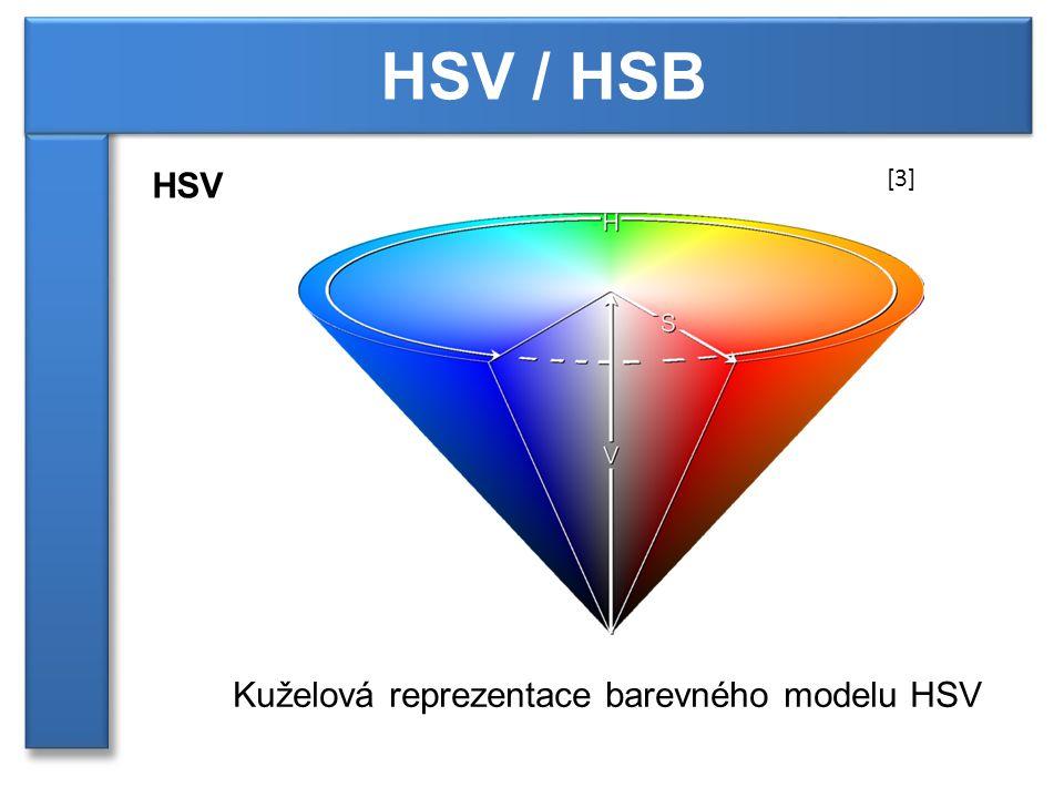 HSV / HSB HSV Kuželová reprezentace barevného modelu HSV [3]