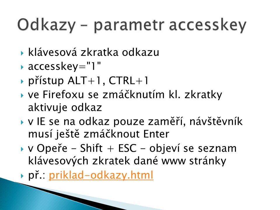  klávesová zkratka odkazu  accesskey= 1  přístup ALT+1, CTRL+1  ve Firefoxu se zmáčknutím kl.