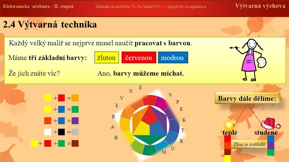 2.4 Výtvarná technika Každý velký malíř se nejprve musel naučit pracovat s barvou.