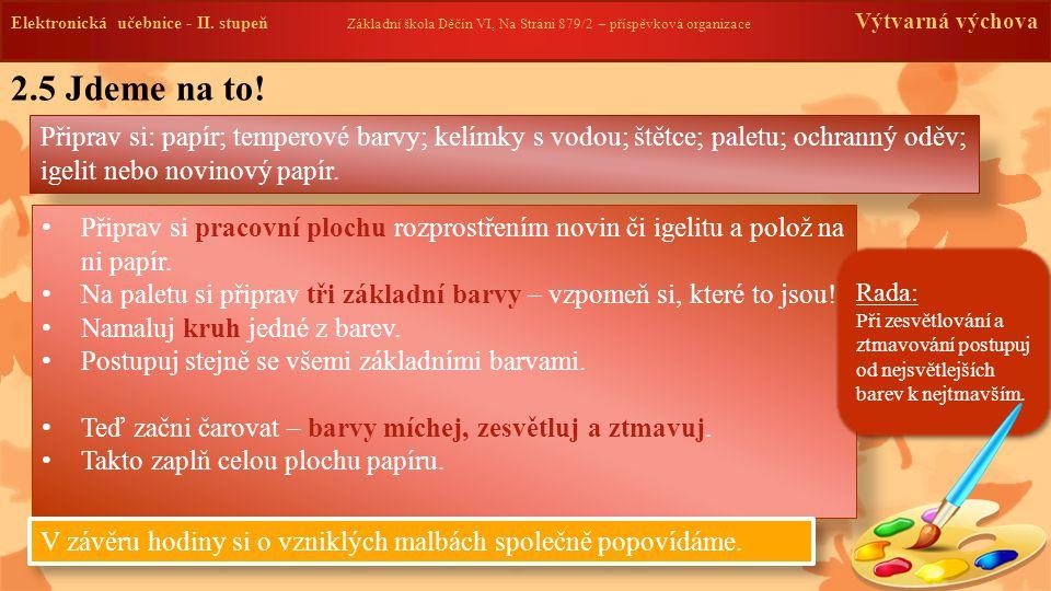 Elektronická učebnice -II. stupeň Základní škola Děčín VI, Na Stráni 879/2 – příspěvková organizace Výtvarná výchova 2.5 Jdeme na to! Připrav si: papí