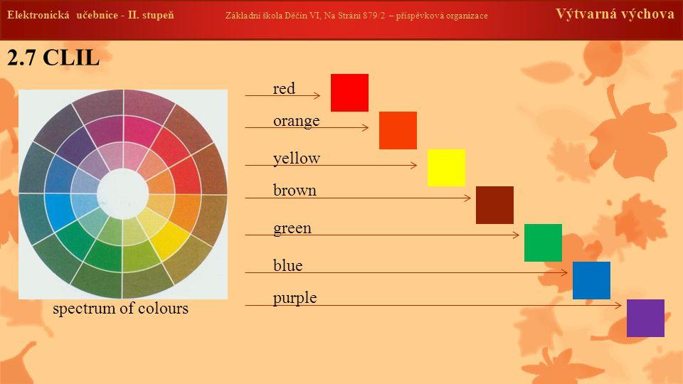 2.7 CLIL Elektronická učebnice - II. stupeň Základní škola Děčín VI, Na Stráni 879/2 – příspěvková organizace Výtvarná výchova spectrum of colours red