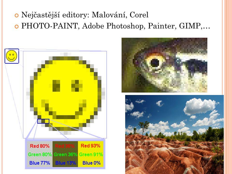 Nejčastější editory: Malování, Corel PHOTO-PAINT, Adobe Photoshop, Painter, GIMP,…