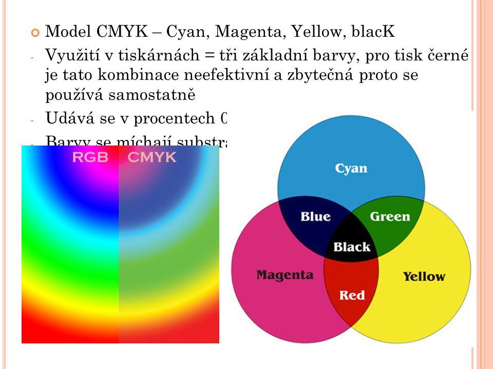 Model CMYK – Cyan, Magenta, Yellow, blacK - Využití v tiskárnách = tři základní barvy, pro tisk černé je tato kombinace neefektivní a zbytečná proto se používá samostatně - Udává se v procentech 0 – 100% - Barvy se míchají substrativním způsobem – mícháním vzniká tmavší odstín