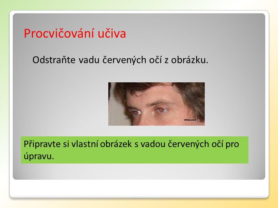 Procvičování učiva Připravte si vlastní obrázek s vadou červených očí pro úpravu.