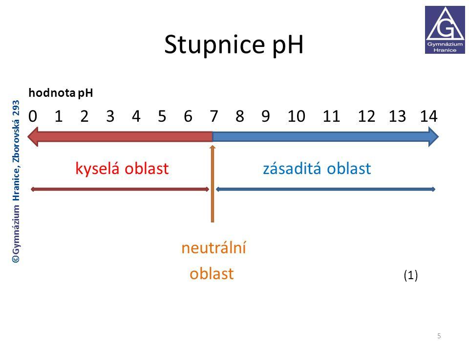 Stupnice pH rozsah stupnice: 0-14 hodnota pH 0-7 : kyselá oblast čím nižší je hodnota pH, tím je roztok kyselejší hodnota pH 7-14 : zásaditá oblast čím vyšší je hodnota pH, tím je roztok zásaditější hodnota pH 7 : neutrální oblast 6 ©Gymnázium Hranice, Zborovská 293