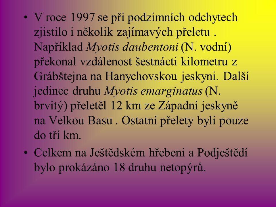 V roce 1997 se při podzimních odchytech zjistilo i několik zajímavých přeletu.