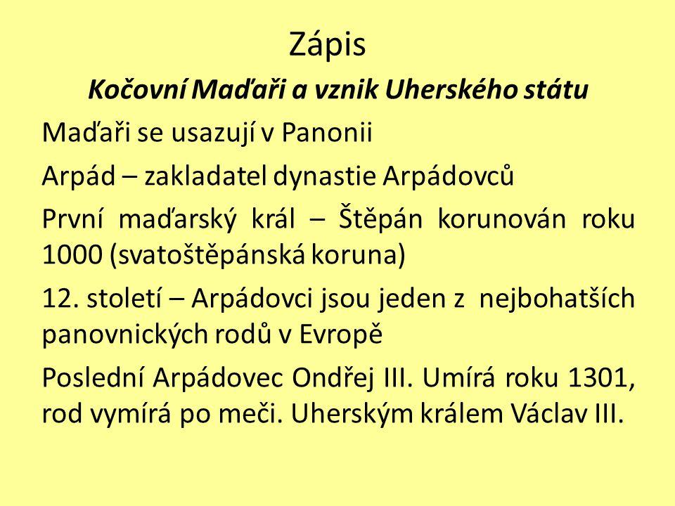 Zápis Kočovní Maďaři a vznik Uherského státu Maďaři se usazují v Panonii Arpád – zakladatel dynastie Arpádovců První maďarský král – Štěpán korunován
