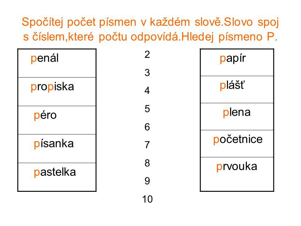 Spočítej počet písmen v každém slově.Slovo spoj s číslem,které počtu odpovídá.Hledej písmeno P. penál propiska péro písanka pastelka papír plášť plena