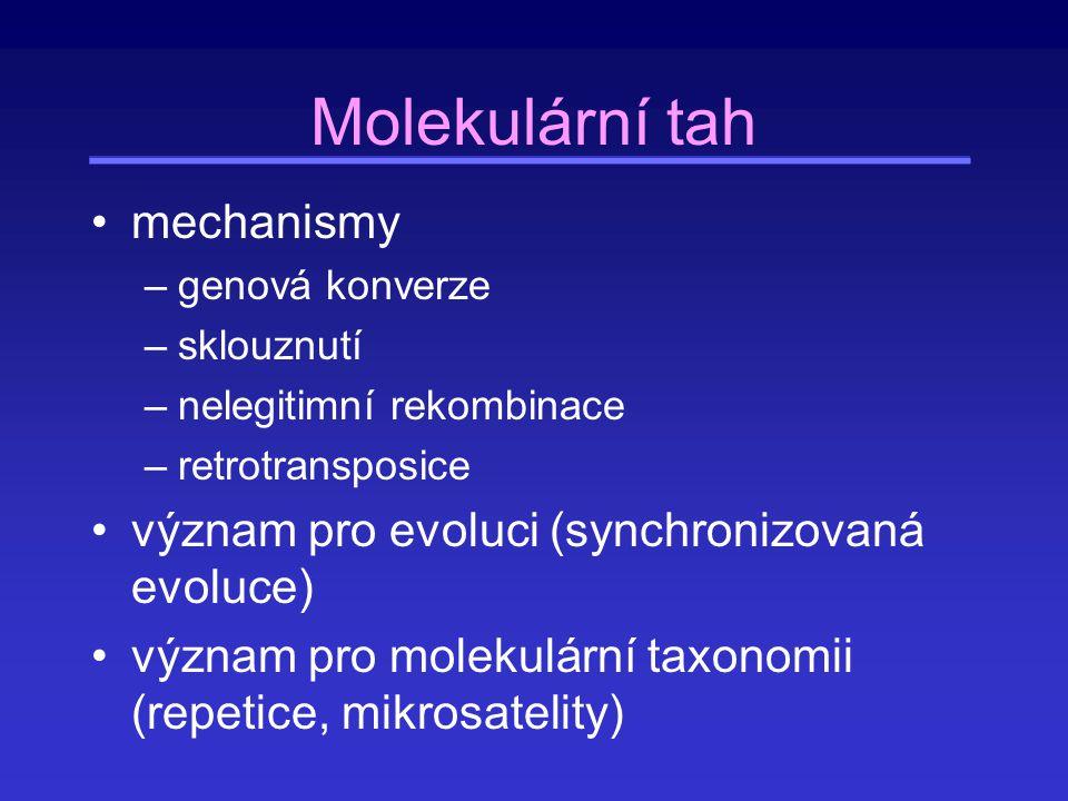mechanismy –genová konverze –sklouznutí –nelegitimní rekombinace –retrotransposice význam pro evoluci (synchronizovaná evoluce) význam pro molekulární