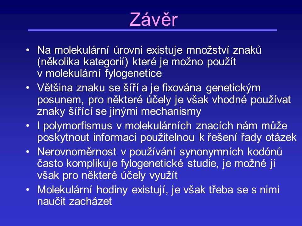 Závěr Na molekulární úrovni existuje množství znaků (několika kategorií) které je možno použít v molekulární fylogenetice Většina znaku se šíří a je f