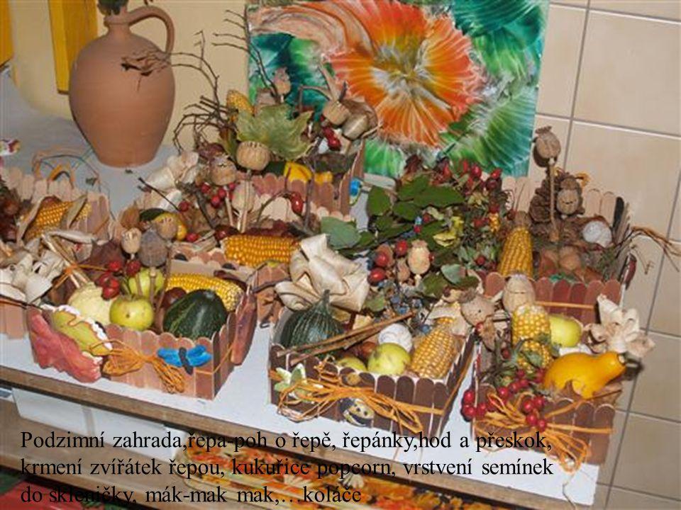 Podzimní zahrada,řepa-poh o řepě, řepánky,hod a přeskok, krmení zvířátek řepou, kukuřice popcorn, vrstvení semínek do skleničky, mák-mak mak,…koláče