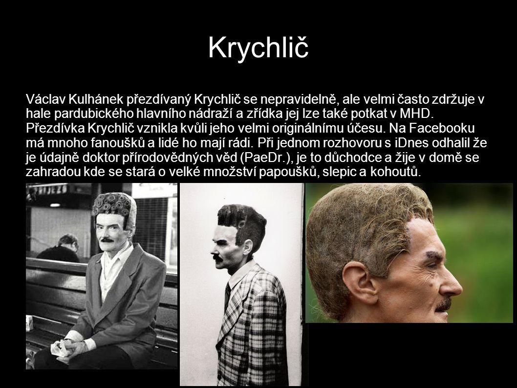 Krychlič Václav Kulhánek přezdívaný Krychlič se nepravidelně, ale velmi často zdržuje v hale pardubického hlavního nádraží a zřídka jej lze také potkat v MHD.
