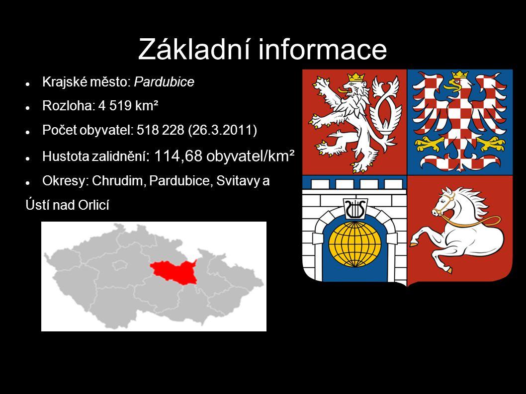Základní informace Krajské město: Pardubice Rozloha: 4 519 km² Počet obyvatel: 518 228 (26.3.2011) Hustota zalidnění : 114,68 obyvatel/km² Okresy: Chrudim, Pardubice, Svitavy a Ústí nad Orlicí