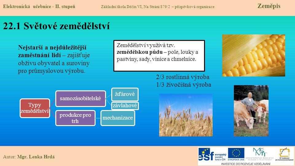 22.2 Rozmístění zemědělství Elektronická učebnice - II.