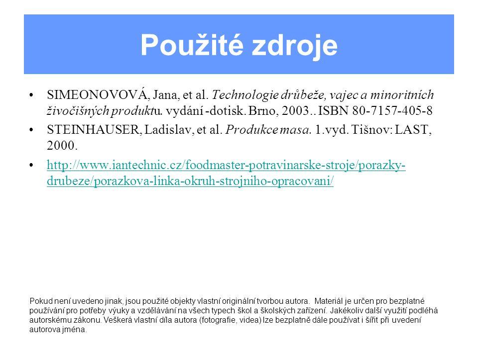 Použité zdroje SIMEONOVOVÁ, Jana, et al.
