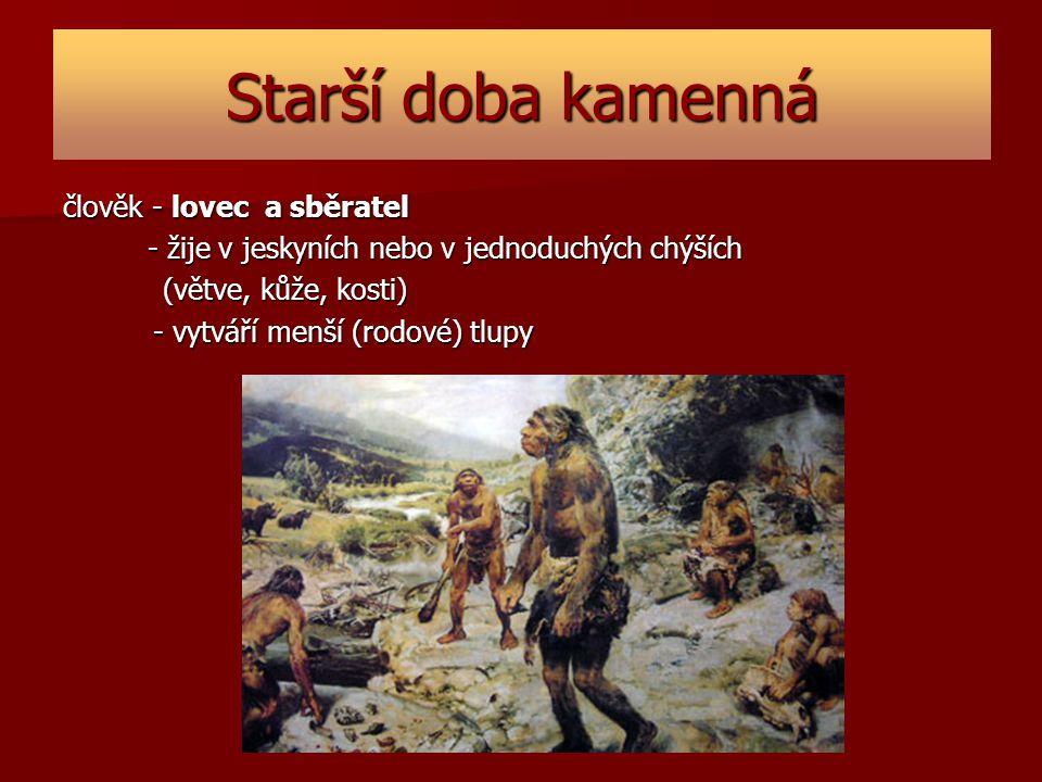 Starší doba kamenná člověk - lovec a sběratel - žije v jeskyních nebo v jednoduchých chýších - žije v jeskyních nebo v jednoduchých chýších (větve, ků