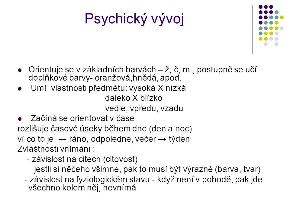 Psychický vývoj Orientuje se v základních barvách – ž, č, m, postupně se učí doplňkové barvy- oranžová,hnědá, apod.