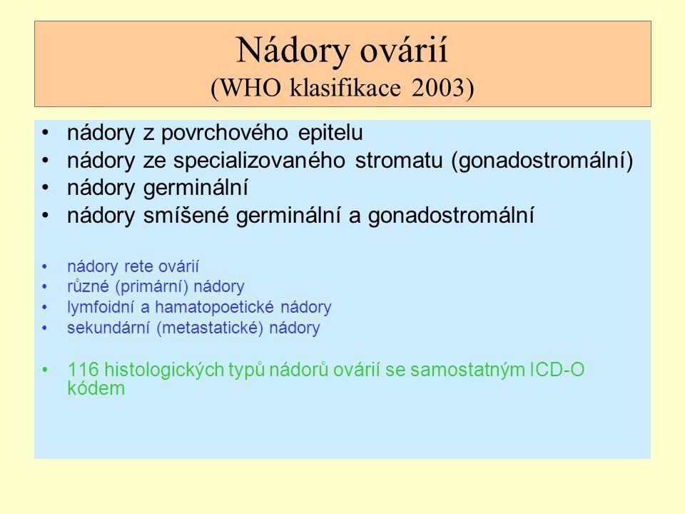 Nádory ovárií (WHO klasifikace 2003) nádory z povrchového epitelu nádory ze specializovaného stromatu (gonadostromální) nádory germinální nádory smíše