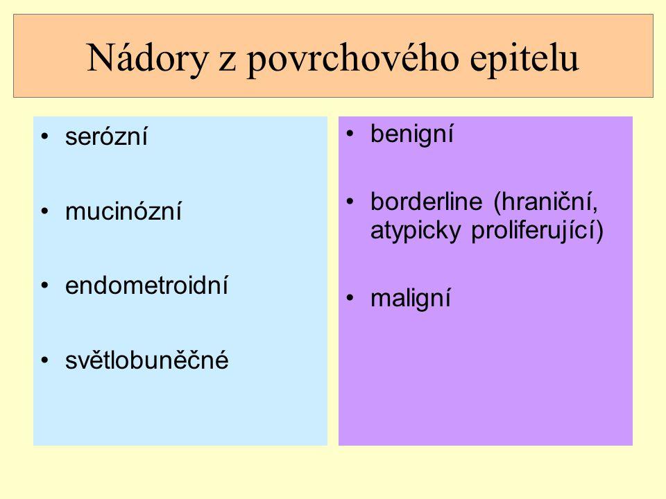 Benigní nádory z povrchového epitelu obvykle 4-5 dekáda (ale i 80 let) klinický obraz: asymptomatické nepříznačné obtíže- bolesti břicha, hmatná léze často náhodný nález histopatologický nález: cystadenom, cystadenofibrom, adenofibrom, povrchový papilom epitel podle typu nádoru (serózní, mucinózní, endometroidní, světlobuněčný)