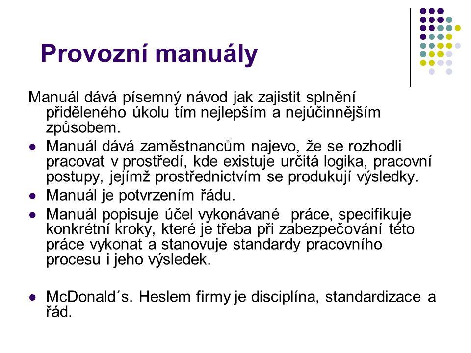 Provozní manuály Manuál dává písemný návod jak zajistit splnění přiděleného úkolu tím nejlepším a nejúčinnějším způsobem.
