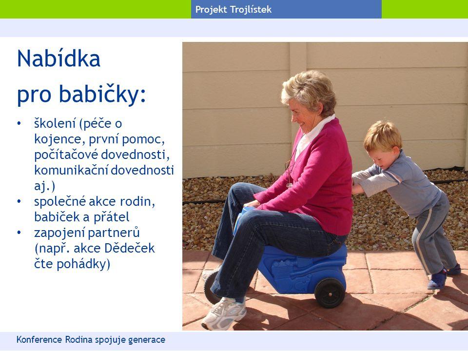 Projekt Trojlístek Nabídka pro babičky: školení (péče o kojence, první pomoc, počítačové dovednosti, komunikační dovednosti aj.) společné akce rodin,