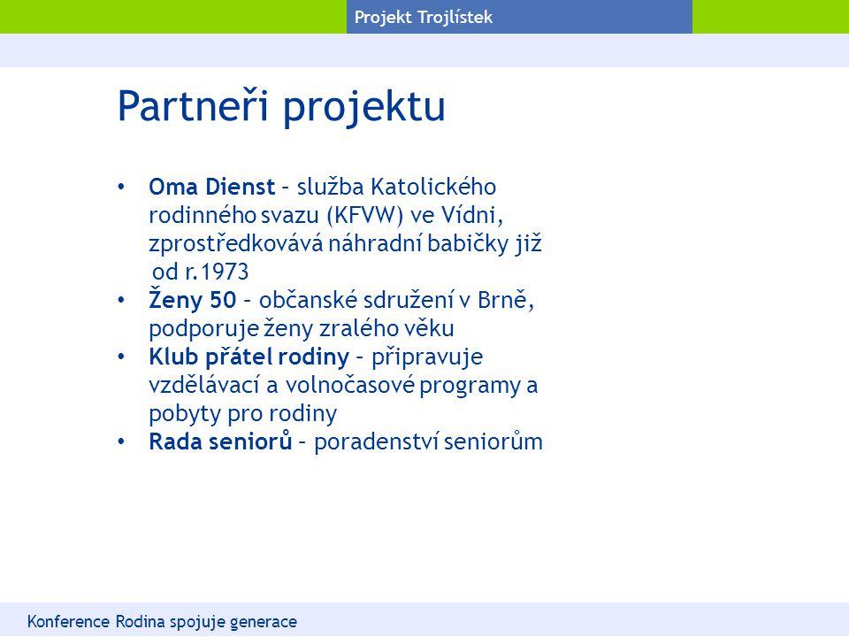 Projekt Trojlístek Partneři projektu Oma Dienst – služba Katolického rodinného svazu (KFVW) ve Vídni, zprostředkovává náhradní babičky již od r.1973 Ž