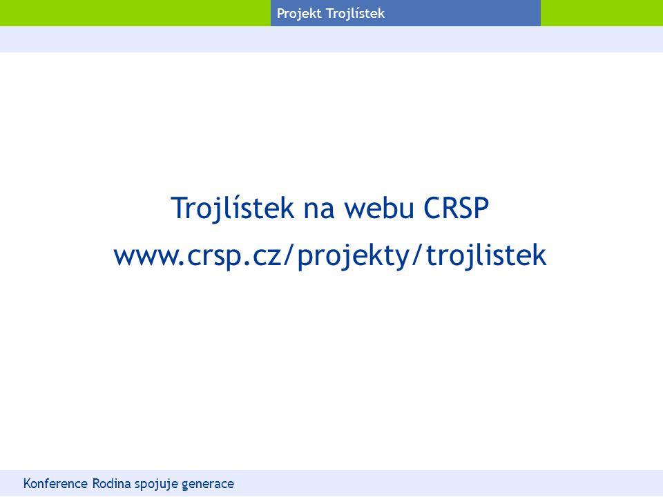 Projekt Trojlístek Trojlístek na webu CRSP www.crsp.cz/projekty/trojlistek Konference Rodina spojuje generace