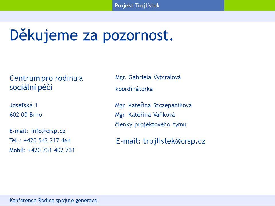 Projekt Trojlístek Děkujeme za pozornost. Konference Rodina spojuje generace Josefská 1 602 00 Brno E-mail: trojlistek@crsp.cz Centrum pro rodinu a so