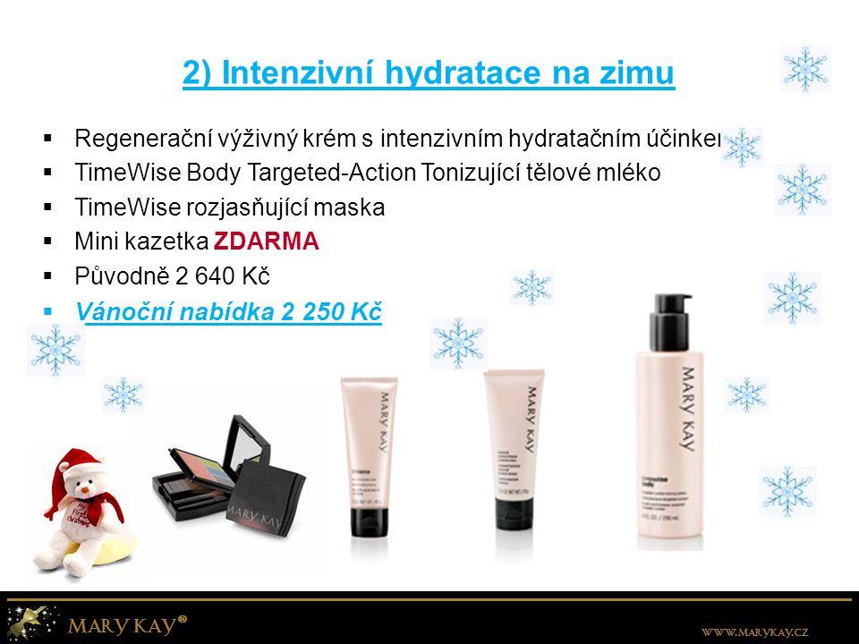 2) Intenzivní hydratace na zimu  Regenerační výživný krém s intenzivním hydratačním účinkem  TimeWise Body Targeted-Action Tonizující tělové mléko  TimeWise rozjasňující maska  Mini kazetka ZDARMA  Původně 2 640 Kč  Vánoční nabídka 2 250 Kč
