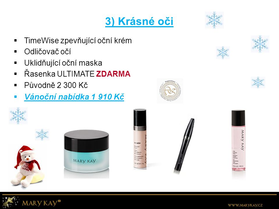 4) Perfektní make-up  Minerální pudrový make-up + štětec  TimeWise podkladová báze + štětec  Fixační gel pod make-up s SPF 15  Ubrousky pohlcující mastnotu ZDARMA  Původně 2 080 Kč  Vánoční nabídka 1 860 Kč