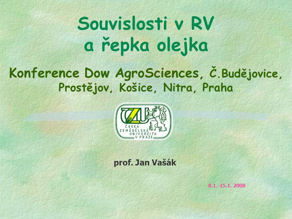 Souvislosti v RV a řepka olejka Konference Dow AgroSciences, Č.Budějovice, Prostějov, Košice, Nitra, Praha prof. Jan Vašák 8.1.-15.1. 2008