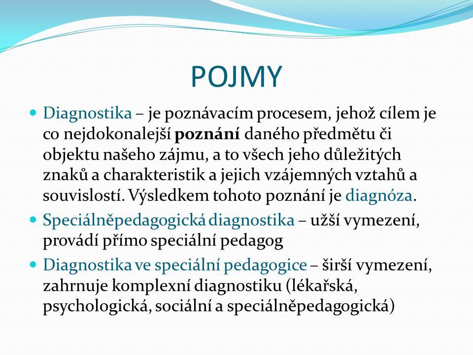 POJMY Diagnostika – je poznávacím procesem, jehož cílem je co nejdokonalejší poznání daného předmětu či objektu našeho zájmu, a to všech jeho důležitý
