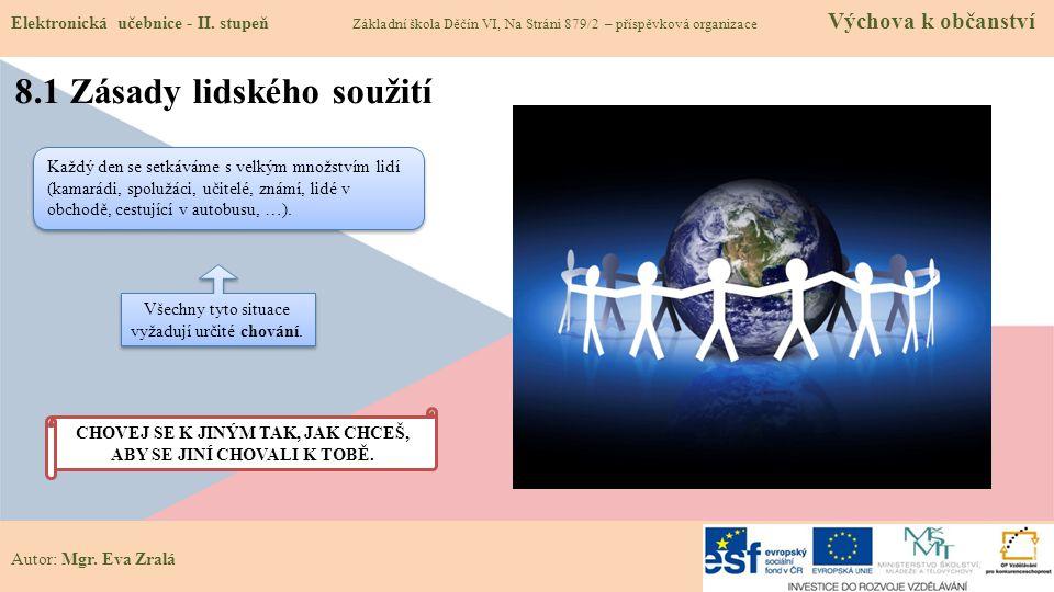 Autor: Mgr. Eva Zralá 8.1 Zásady lidského soužití Elektronická učebnice - II.