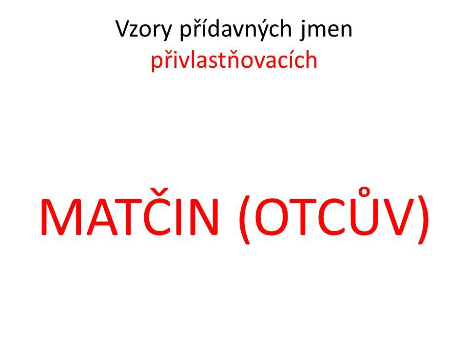 Vzory přídavných jmen přivlastňovacích MATČIN (OTCŮV)
