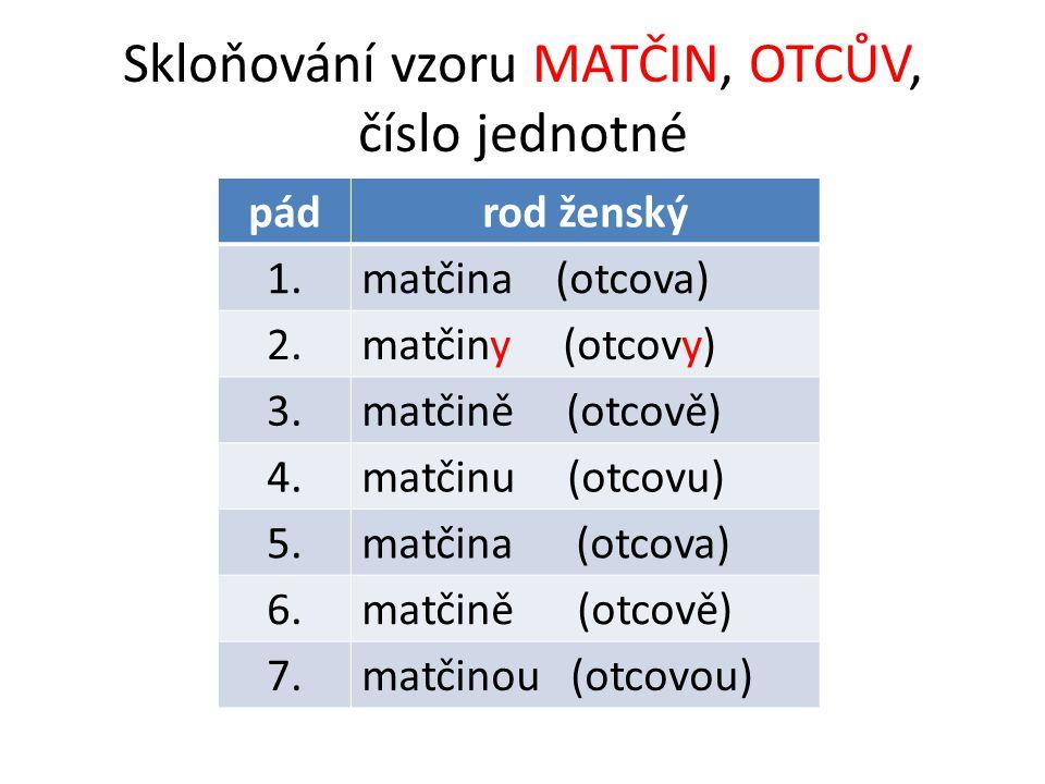Skloňování vzoru MATČIN, OTCŮV, číslo jednotné pádrod ženský 1.matčina (otcova) 2.matčiny (otcovy) 3.matčině (otcově) 4.matčinu (otcovu) 5.matčina (otcova) 6.matčině (otcově) 7.matčinou (otcovou)